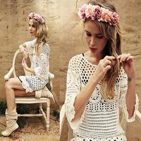 FanShou Free Shipping 2015 Women Dress Vintage Summer Dress Handmade Crochet Sexy Hollow Out Casual Dress Vestidos Femininos