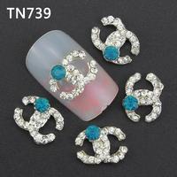 10Pcs Silver Light Blue Dot Letters Nail Tools Clear Rhinestones For Alloy Nails Glitters DIY 3D Nail Art Decorations TN739