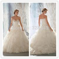 High Quality 2015 New Arrival Free Shipping Beading Sweetheart Ivory Bidal Wedding Dresses Luxury Ruffles Organza Ball Gown