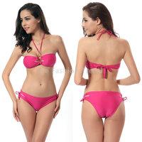 2015 Women Girl Friend Sexy curve Push up Bra With upscale Kim Halter Padded Bikini set Beach swim bathing wear Biquini Swimsuit