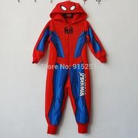 Children boy  spiderman Cartoon Cosplay Costume Pajamas Kids One piece hooder Sleepwear boy  sleeper winter homewear