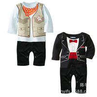 2015 New Design Unisex romper Baby infant Rompers Children's Casual clothes baby Gentleman jumpsuit Baby Boys Clothing