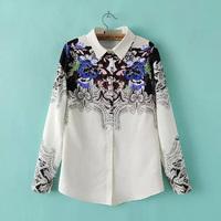 European And American Style Women Chiffon Blouse Floral Printed Shirt White Tops Long Sleeve Lapel Collar Chiffon Camisa GD0136