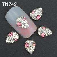 10Pcs Silver Pink Water Drops Nail Tools Clear Rhinestones For Alloy Nails Glitters DIY 3D Nail Art Decorations TN749