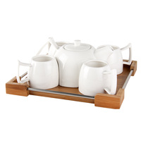 Simple and elegant brief white ceramic tea set coffee cup set with bamboo base