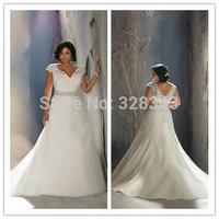 New Arrival V-neck Short Lace Cap Sleeve Beading Organza Court Train Custom Made Fancy Latest Plus Size Wedding Dress 2015