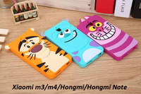 1PCS 3D Cartoon Animal Monsters Sulley Tigger Alice Cat Silicone Case For Xiaomi m3/m4/Hongmi/Hongmi note Phone back covers