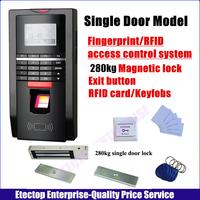 Full set 620lb 280KG Single Door Magnetic lock,Fingerprint Door acess control system, RFID Cards and keyfobs