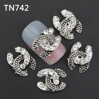 10Pcs Silver Black Luxury Logo Letter Nail Tools Clear Rhinestones For Alloy Nails Glitters DIY 3D Nail Art Decorations TN742