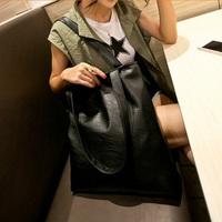 New Arrival 2015 Brief Fashion Women Handbag Shoulder Bag Large Capcity Bags PU Women Messenger Bags Bolsas Tote Black Color