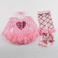 4PCS Pink Dot Newborn Baby Girls Long Sleeve Romper Dress Outfits Clothes 0-12M