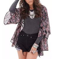 2015 New Design Women Chiffon Kimono Printed Blouse Batwing Sleeve Tops Leisure Black Kimono Cardigans Camisa  GD0145