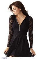 New Arrival!! Zip Front Lace Skater V-Neck  Dress LC21880