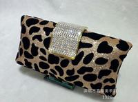 Korean  fashion leopard  velvet rhinestone buckle  women luxury  evening bag