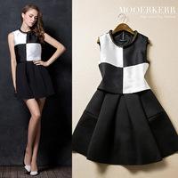 2015 Sale Vestidos Femininos Dress Mooerkerr Winter New European And American Women Fake Two-piece Sleeveless Dress Slim Ali