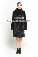 BG70809 Women's Genuine Mink Fur Coat With Belt Slim-fitting  Long Style Ladies' Winter Warm Fashion Choice