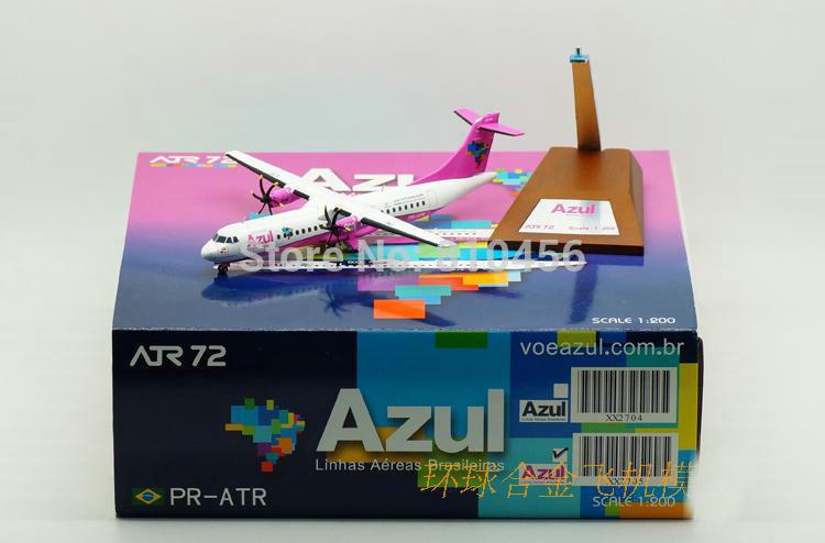 Free Shipping!Brazil AZUL ATR 72-600 Reg:PR-ATR Pink JC Wings 1:200 Diecat Models XX2704(China (Mainland))