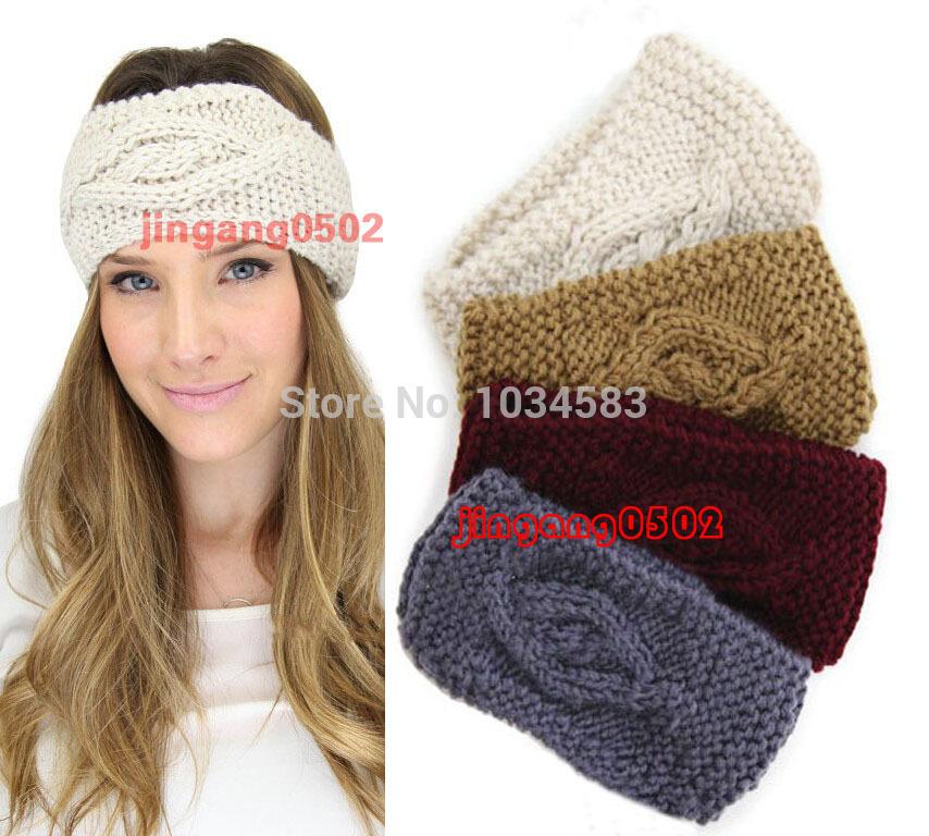 2015 new knot knit headband bow crochet turban head wrap ear warmer women cable decoration winter hair accessories free shipping(China (Mainland))