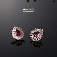 AAAAA+ Cubic Zircon Water Drop Ruby Stud Earrings Women's Bridal Piercing Earrings Jelwery New Arrival Wholesale Beautyer BEH51