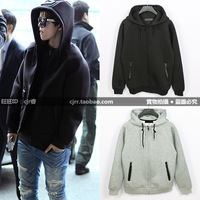 Autumn and winter trend solid color zipper hoodie space cotton sweatshirt wang big lovers