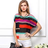 European roupas femininas women's Plus Size chiffon blouse short-sleeved t-shirt Colored stripes shirt women clothing CS118