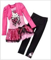 Retail 2015 Kids Clothes Sets Fashion Autumn 2pcs Sets Skirt Suit Hello Kitty Baby Girls Dresses Clothing Sets Shirt +Pants