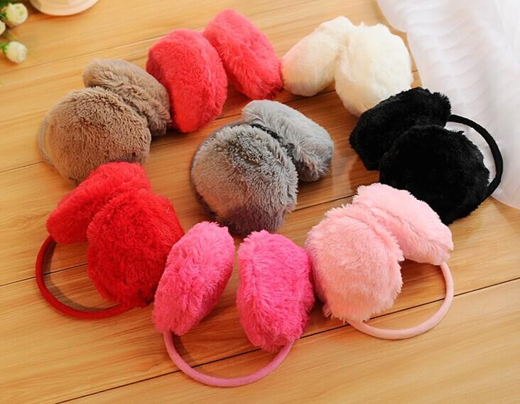 2015 New Ear Muffs Solid Fashion Candy Fluffy Warmer Winter Headphone Plush Muff Multicolor Lady Women Earmuffs Free Shipping(China (Mainland))