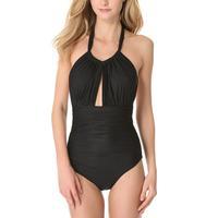 Women's High Neck Halter With Keyhole Open-back One Piece Swimsuit Beachwear EU 34 36 38 40 42 44