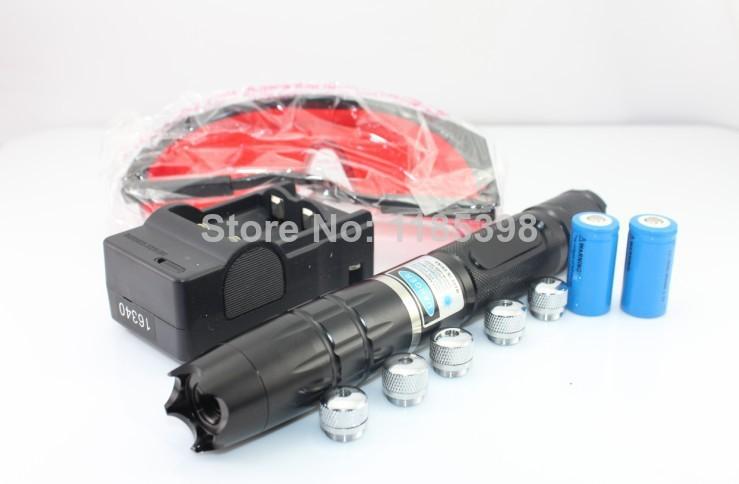 best-ZD1988new30000MW Adjustable Focus Blue Laser Pointer Heads of Flashlight+ Glasses+Aluminum box(China (Mainland))