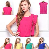 European 2015 Fashion Blouses Summer Ruffled Pleated short-sleeve O-neck Chiffon Women Shirt Top Women's Tee Tops