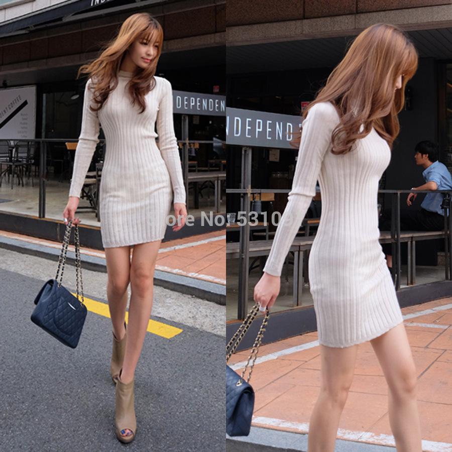 Fashion Women Dress Warm Casual Clothes Korean Female Long-Sleeved Backing Slim Package Hip Winter Dress Vestidos(China (Mainland))