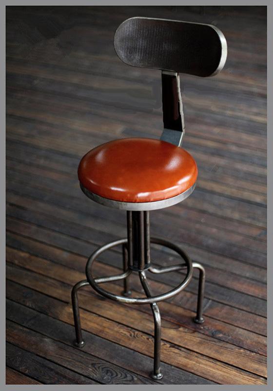 Tabouret de bar cuir vintage for Chaise metal industriel pas cher