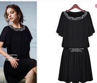 New fashion plus size women clothing 2015 spring summer desigual short sleeve sweet cute diamonds casual dress L-3XL in stock