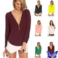 2015 Camisa Feminina Blusa Womens Tops And Blouses Candy Color Long Sleeve Zipper V-Neck Chiffon Shirt Plus Size Hot Sale