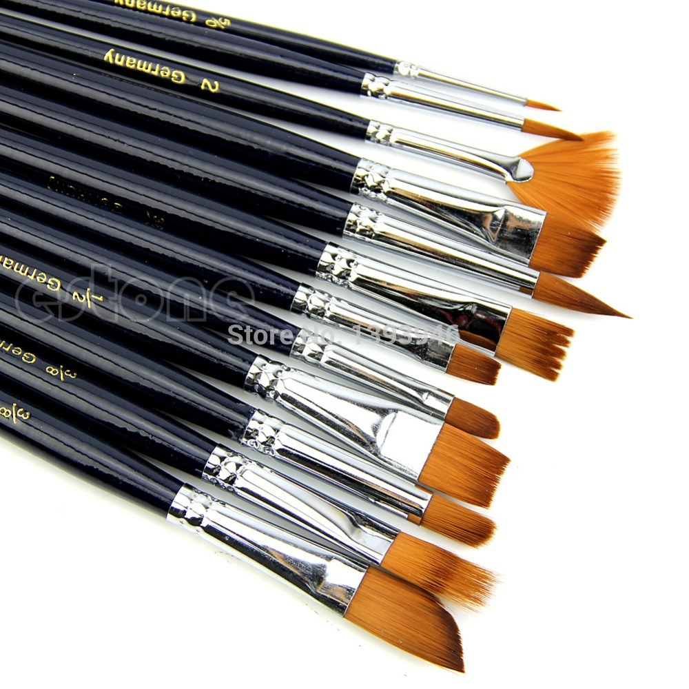 U119 Free Shipping 12Pcs Artist Nylon Hair Paint Brush Set Acrylic Oil Painting Watercolor Supplies(China (Mainland))
