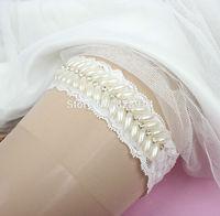 New Design Luxury Imitation pearl beaded Trim Lace Wedding Garter for Bridal Garter Handmade Free shipping