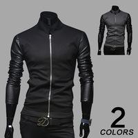 Fashion casual 2015 Men Standing collar PU leather sleeves Baseball shirt Stylish Slim Men personality splicing Hoodies Jackets