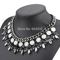 Vintage Gun black Alloy Luxury accessories Layers  Chunky Glass Gems Glass Jewelry Za Necklace Fashion Jewelry for Women