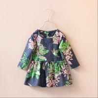 2015 Spring Autumn Children Girl Vintage Retro Floral Print Long Sleeve Princess Girls Korea Style Dresses Fashion Dress