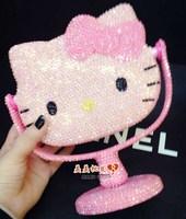 Fashion cute Make up mirror  Diamond bling crystal DIY 3D pink Hellokitty Decoration desktop  free shipping