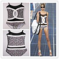 2015 Summer designer bikini channel mesh swimwear women jumpsuit sexy monokini swimsuit biquini set bathing suit swimsuit 1337