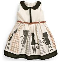 2015 New Brand Summer Children Girls Sleeveless Dresses Cartoon Cat Design Printing Collar dress With belt for 2~7Y Kids