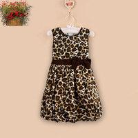 Summer Girl Dress 2 Layers Leopard Print Cotton Lantern Bow Tank Sleeveless Sundress Party Birthday Baby Children Clothes