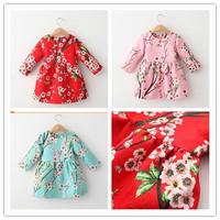 2015 Brand Designer Spring Children Girls Long Sleeve Princess Dress Floral Pattern Cotton Girls Dresses Kids Dresses For Girl