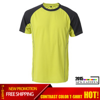 Brand New Fashion 2015 Men's Running T-Shirts Summer Breathable Casual Tops Slim Fit Anti-sweat Sport Shirt Quick Dry men shirt