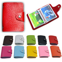 Free shipping Wallet ID Credit Card Holder Box Pocket Slot PU Leather Business Bag Candy Color