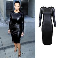 Fashionable Top Quality Sexy Women PU Leather Dresses Long Sleeve Sheath Black  Knee-Length Plus Size XXL Dress Free Shipping