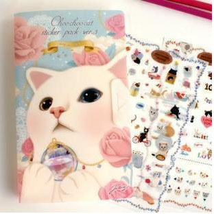8sheets/lot New very cute cats designs decoration paper / pvc sticker / Decorative Label / Multifunction(China (Mainland))