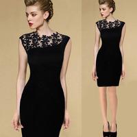 Euro style 2015 spring new arrival fashion lace patchwork women knee-length dress slim sleeveless black vintage dresses vestidos