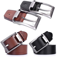 Hot Men's Black/Brown Waistband Business Faux Leather Pin Buckle Belt Straps Top